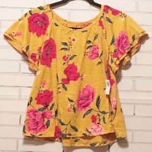 NWT | Old Navy Girls Blouse | Yellow | Large 10-12